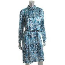 Jones New York Blue Satin Snake Print A-Line Shirt Dress  - NEW
