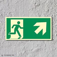 Rettungsweg rechts aufwärts Notausgang Rettungswegschild Schild Nachleuchtend AS