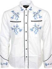 Relco Blanco Azul Vaquero Occidental Camisa Bordada Flor de línea de Baile Nuevo