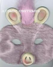 Kids Pig Half Mask Furry Hairy Pink Fur Face Halloween Costume Boys Girls NEW