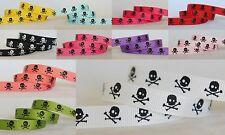 5yds~~10mm Black Skull and Bones Printed Grosgrain Ribbon 11 Colours U PICK