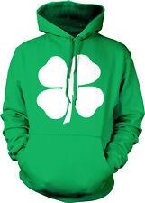Four Leaf Clover White Irish Shamrock St. Patrick's Day Mens Hoodie Sweatshirt