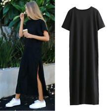 Women High Side Double Slit Splits Long Maxi T Shirt Party Dress Blouse Top JJ