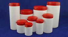 Kunststoffdosen weiß mit rotem Deckel und Originalitätsverschluss NEU