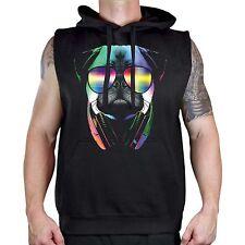 Men's DJ Pug Black Sleeveless Vest Hoodie Workout Fitness Gym Rave Party Neon