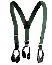 1980s Army Elastic Braces Black Leather Ends Adjustable Suspenders Vintage Retro