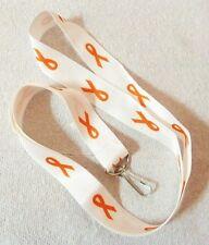 Lanyard Orange Awareness Ribbon White Hook and Ring Leukemia Many Cancer Causes