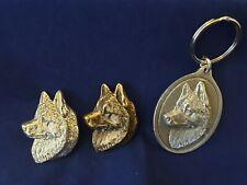 SIBERIAN HUSKY Brooch Pewter Key ring Silver Bronze plate Dannyquest
