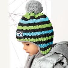 Jungen Wintermütze Set Schal+Mütze Kindermütze Bommelmütze Winterset AJS