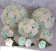 Pretty IVORY MINT  wedding bouquet posy flowers bridesmaid bride buttonholes