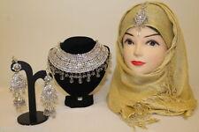 Ladies Diamante Big Choker Necklace Earring Tikka Bridal Prom Costume Jewellery