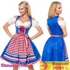 Ladies Blue Oktoberfest Costume Beer Maid Wench German Dirndl Womens Fancy Dress