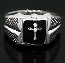 18k White Gold Plated Men's Cross Ring Men's Black Ring R66