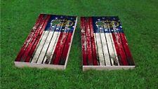 Georgia Worn / Distressed State Flag Woodslat Custom Cornhole Board Set