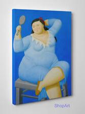 Quadro Botero Donna con Specchio Stampa su Tela Vernice Pennellate a Rilievo