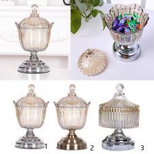 Ribbed Glass Sweet Jar Lid Candy Food Storage Pot Vintage Wedding Favour