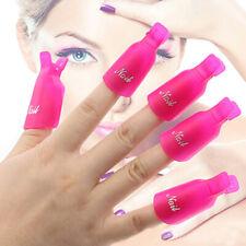 10pcs Plastic Acrylic Nail Art Soak Off Cap Clip UV Gel Polish Remover Wrap Tool