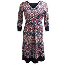 Marks & Spencer Multi Print Stretchy Dress Fit & Flare with V Neckline Orig Pric