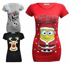 New Womens Short Sleeve Christmas Printed T-Shirts 16-26