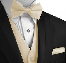 Men's XS - 6XL. Champagne Satin Formal Tuxedo Vest, Bow-Tie & Hankie Set.