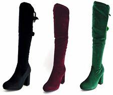 Stivali donna con tacco in ciniglia stivale invernale in velluto al ginocchio