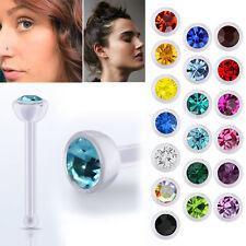 1-4PC Bio Flex Nose Bone 20G 2.5mm Round Cubic Zirconia Crystal Stud Jewel Gems