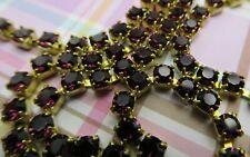 3mm Amethyst Purple Rhinestone Chain Brass Setting Deep Purple Czech Crystals