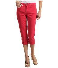 NEW NYDJ Jeans Alyssia Rhinestone cuff crop capri Watermelon pink red 4 6 14 16