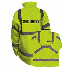 SECURITY HI VIS PARKA JACKET, WORKWEAR, HI VIZ, GUARD YELLOW REFLECTIVE