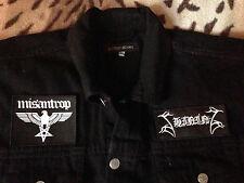 Shining Black Metal Denim Cut-Off Sleeveless Battle Jacket Waistcoat Vest S-4XL