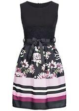 50% OFF B18027042 Damen Violet Kleid Midi mit Spitze geblümt Streifen schwarz