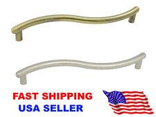 Brushed Nickel or Bronze Pull Handle Knob For Cabinet Drawer Bin Door Waves