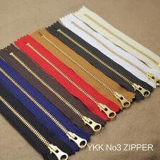 YKK NO 3# Brass Zip Zipper Closed End Metal Heavyweight Jacket Puller 15cm DIY