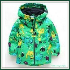 NEW Baby Boys Dinosauro Verde Bambino con Cappuccio Autunno Leggero Cappotto Invernale Per Bambini