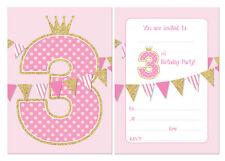 Tercero Invitaciones Fiesta Cumpleaños,Rosa guirnalda & de imitación