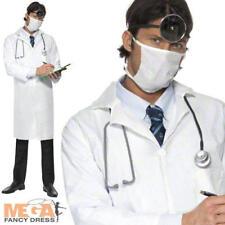 Doctor's para Hombre Vestido elegante bata blanca y Máscara de Disfraz Uniforme de Ocupaciones Adultos