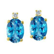 3.52CT Women's 14K Yellow Gold Covered Silver Oval Shape BlueTopaz Stud Earrings
