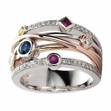 Fashion Two Tone 925 Silver Rings Women Cubic Zircon Wedding Ring Size 6-10