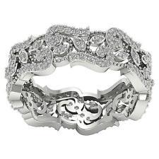 Genuine Diamond 1.00Ct SI1 H Eternity Anniversary Ring Prong Set 14Kt White Gold