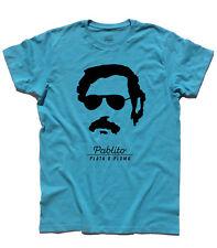 "T-shirt uomo ""O plata o plomo"" ispirata a Pablo Escobar trafficante Colombia"