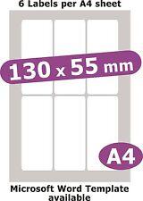 130x55mm 30 Labels Matt White Paper 5 A4 Sheets Laser Copier Inkjet Stickers