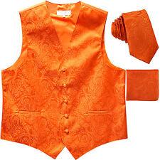New Men's Formal Vest Tuxedo Waistcoat_necktie set paisley orange wedding prom