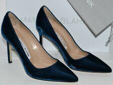 3ed274f0 Nuevo Manolo Blahnik Bb 105 Zapatillas Terciopelo Zapatos Azules 35 35.5  38.5