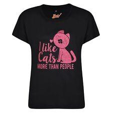 Cat Lover Gift Glitter Sparkly Pink Print Ladies Women's Black T Shirt