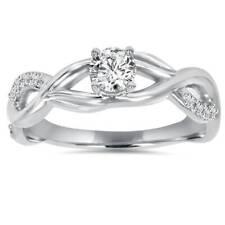 1/2Ct Vintage Infinity Diamond Engagement Ring 14K White Gold