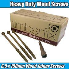 """6.5mm x 150mm 6"""" TIMBER LOCK TIMBERFIX STRUCTUAL GARDEN DECKING WOOD HEX SCREWS"""