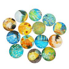 10-50pcs Mixed Glass Famous Painting Design Flatback Cabochon Accessories 8-30mm