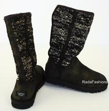 UGG Australia Tall Boots Camaya Glitter Suede Winter Sequin Fur Sheepskin NIB
