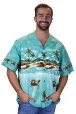 KY's Original Camisa Hawaiana Tortuga Viejo Turtle Old Verde