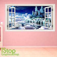 Adesivo parete Castello delle Favole a colori-ragazzi ragazze camera da letto incantato w149